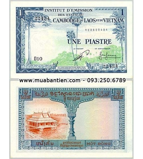 FRENCH INDOCHINA 1 PIASTRE 1954,CAMBODIA