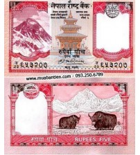 R158 : Nepal 5 Rupees 2009 UNC