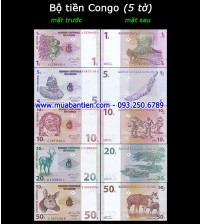 Bộ tiền Congo 5 tờ 1 5 10 20 50 Cents