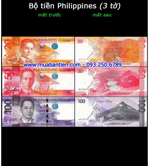 Bộ tiền Philippines 3 tờ 20 50 100 Piso