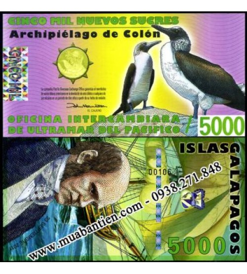 Galapagos Islands 5000 Sucres 2011 UNC polymer