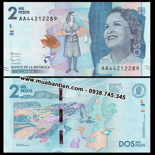 tiền colombia 2000 pesos 2016